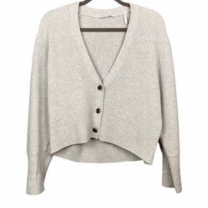 BLDWN Heather Gray Button Front Cardigan Ribbed